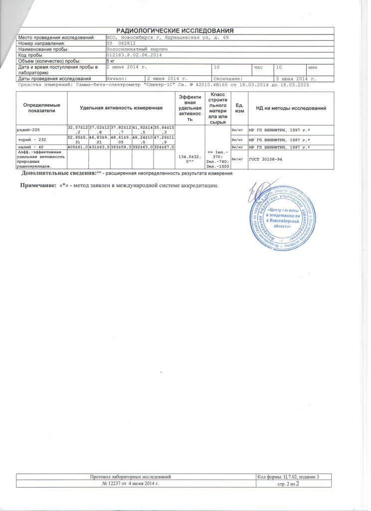 Протокол лабораторных исследований 001